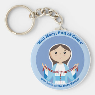 Our Lady of the Rosary Basic Round Button Key Ring