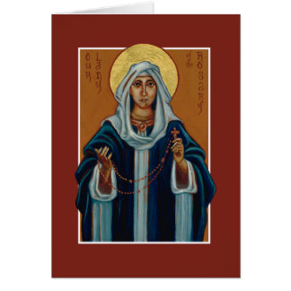 Our Lady of the Rosary (Mary) Icon Blank Note Card