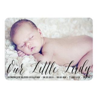 Our Little Lady Script Photo Birth Announcement