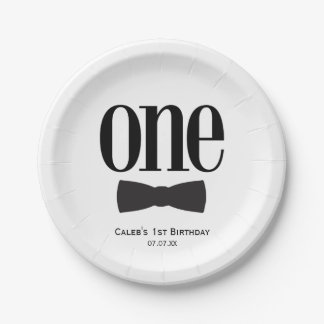 Our Little Man First 1st Birthday Bow tie Party 7 Inch Paper Plate