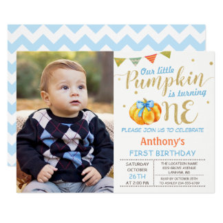 Our Little Pumpkin Baby Boy 1st Birthday Photo Card