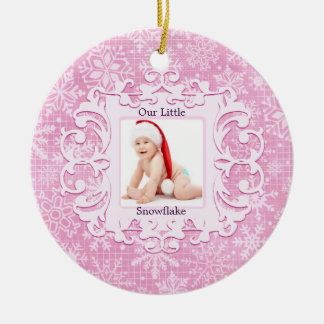 Our Little Snowflake Christmas Holiday Photo Pink Christmas Ornament