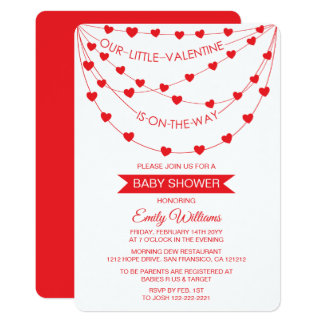 OUR LITTLE VALENTINE IS ON THE WAY BABY SHOWER CARD