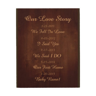 Our Love Story wood wall plaque Wood Wall Art