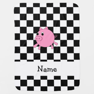 our name pig black white checkers baby blanket
