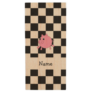 our name pig black white checkers wood USB 2.0 flash drive