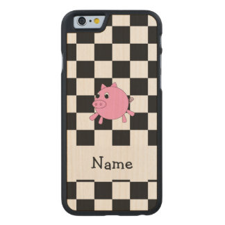 our name pig black white checkers carved® maple iPhone 6 slim case