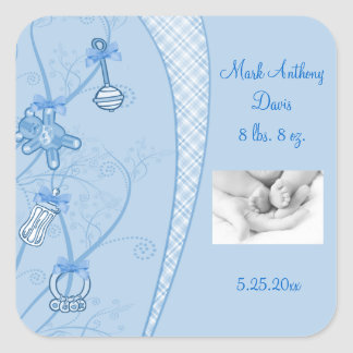 Our New Addition In Blue Hues Square Sticker