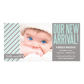 OUR NEW ARRIVAL IN GRAY | BIRTH ANNOUNCEMENT PHOTO GREETING CARD