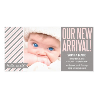 OUR NEW ARRIVAL IN PINK | BIRTH ANNOUNCEMENT CUSTOM PHOTO CARD