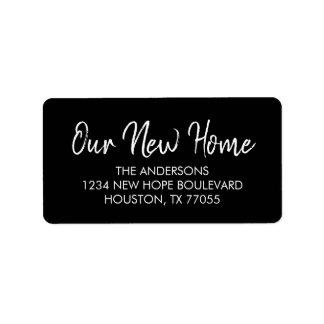 Our New Home Return Address Labels | Black