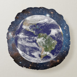 Our Planet Earth in Outer Space Round Cushion