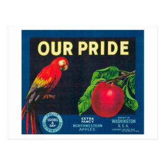 Our Pride Apple Label - Washington State Postcard
