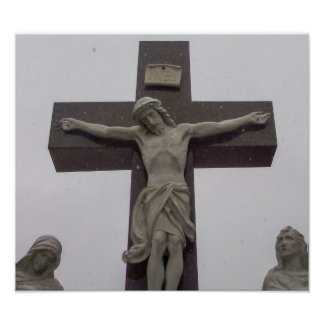 Our Savior Jesus On The Cross In Snow Poster