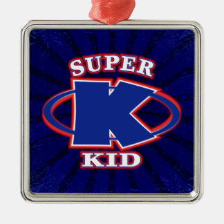 Our super kid logo features a powerful blue letter christmas ornament