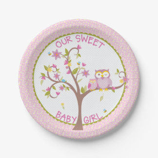 Our Sweet Baby Girl Owl Baby Shower Plate