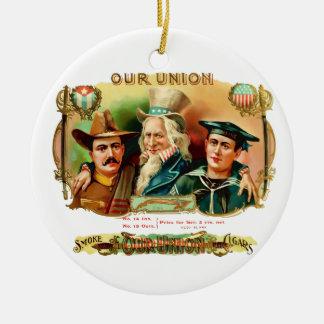 Our Union Vintage Cigar Box Label Christmas Ornament