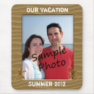 Our Vacation Summer Beach Sand Photo Frame Mouse Pad