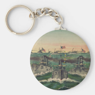 Our Victorious Fleets in Cuban Waters Currier Ives Basic Round Button Key Ring