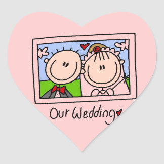 Our Wedding Bride and Groom T-shirts and Gifts Heart Sticker