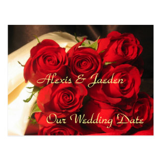 """Our Wedding Date"" - Red Rose Bouquet Postcard"