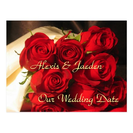 """Our Wedding Date"" - Red Rose Bouquet Post Cards"