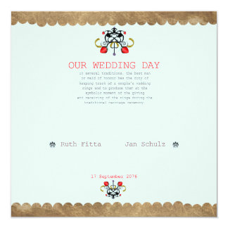 OUR WEDDING DAY 13 CM X 13 CM SQUARE INVITATION CARD