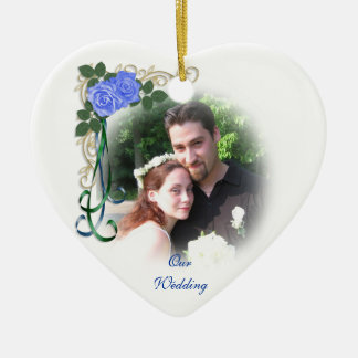 Our wedding Photo Ornament blue roses
