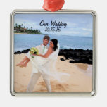 Our Wedding Silver Metal Photo Ornament