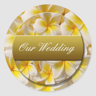 our_wedding_sticker classic round sticker