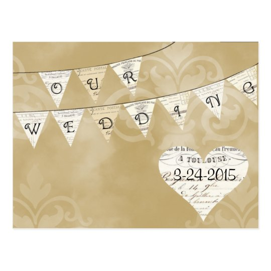 OUR WEDDING Vintage French Bunting Save the Date