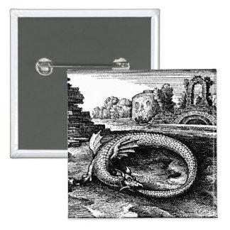 ouroboros serpent pin-backs 15 cm square badge