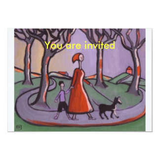 OUT FOR A WALK, You are invited 13 Cm X 18 Cm Invitation Card