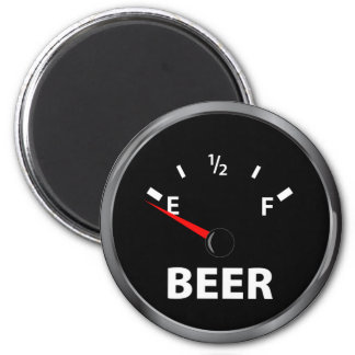 Out of Beer Fuel Gauge 6 Cm Round Magnet