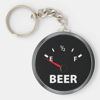Out of Beer Fuel Gauge Basic Round Button Key Ring