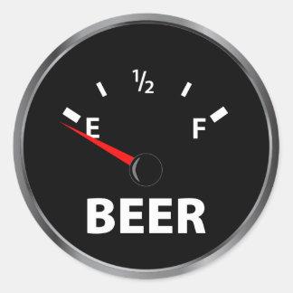 Out of Beer Fuel Gauge Round Sticker