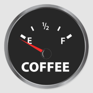 Out of Coffee Fuel Gauge Classic Round Sticker