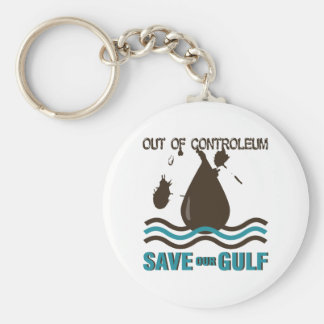 Out of Controleum Save the Gulf Basic Round Button Key Ring