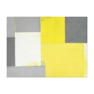 'Out of Step' Grey and Yellow Abstract Art Canvas Print