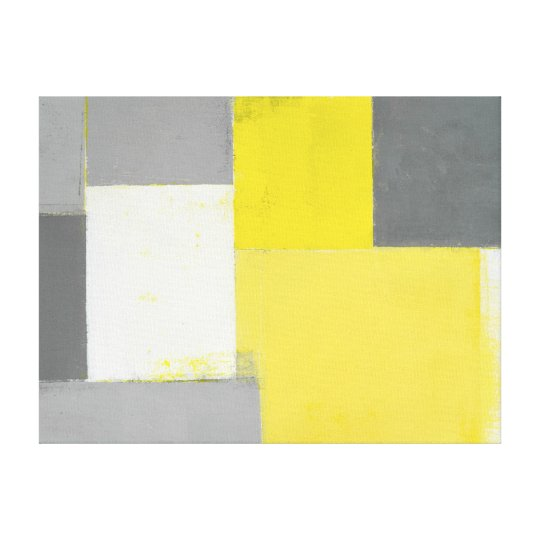 'Out of Step' Grey and Yellow Abstract Art