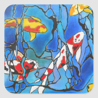 """Out Of The Blue"" Koi Fish Art Painting! Square Sticker"