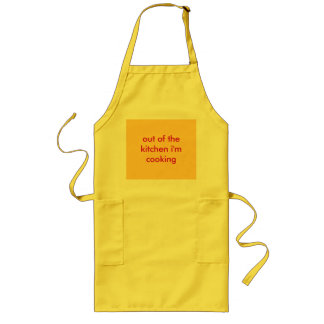 out of the kitchen i'm cooking long apron