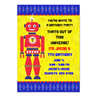 Out of this universe Robot brithday invitation
