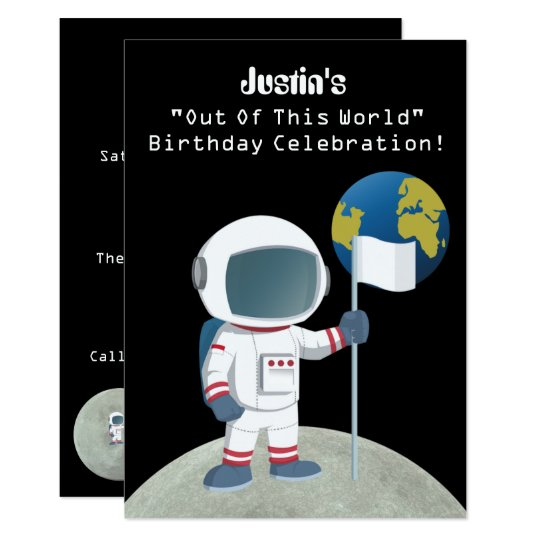 Out Of This World Astronaut Birthday Party Card