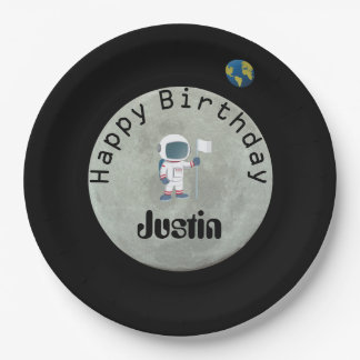 Out Of This World Astronaut Happy Birthday Party Paper Plate