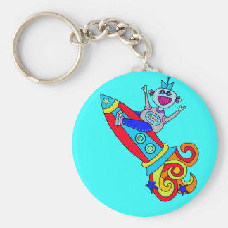 Out of this World Robot Basic Round Button Key Ring