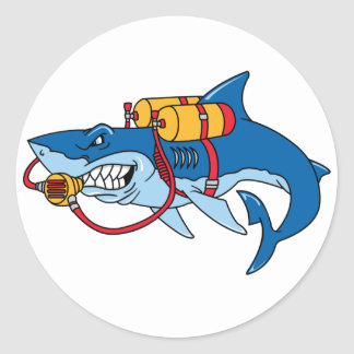 Out Of Water Shark Classic Round Sticker