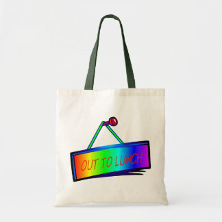 Out to lunch sign theme tote bag