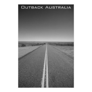 Outback Australia Road - Black and White - Poster