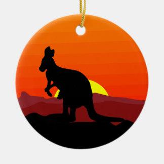 Outback Australian Kangaroo at Sunset Round Ceramic Decoration